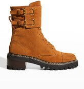 Thumbnail for your product : See by Chloe Mallory Suede Buckle-Cuff Moto Combat Booties