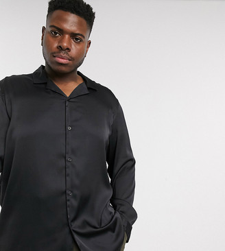 ASOS DESIGN Plus regular fit satin shirt with revere collar in black
