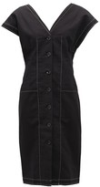 Proenza Schouler White Label - Buttoned-sleeve Cotton-blend Twill Dress - Womens - Black