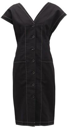 Proenza Schouler White Label Buttoned-sleeve Cotton-blend Twill Dress - Black