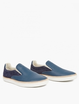 Blue Leather Slip-on Sneakers
