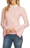 CeCe Women's Collar Bell Sleeve Sweater