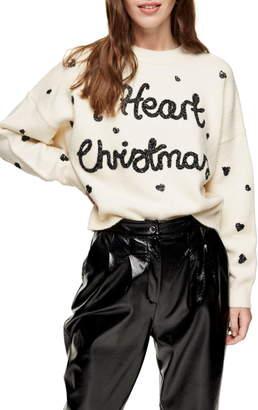 Topshop I Heart Christmas Sweater