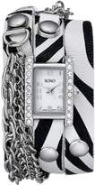 XOXO Women's XO5628 Zebra Patterned Band with Chains Accent Double Wrap Watch