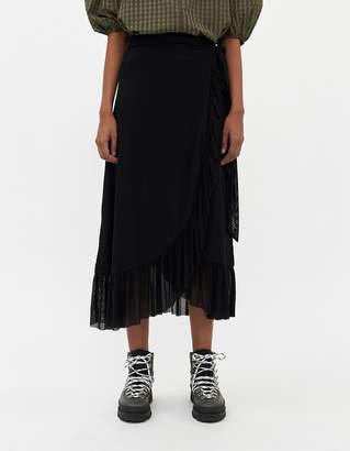 Ganni Women's Dot Mesh Wrap Skirt in Black, Size 34
