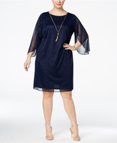 MSK Plus Size Split Angel-Sleeve Necklace Glitter Dress