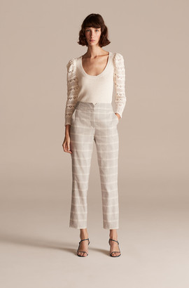 Rebecca Taylor Tailored Slub Linen Plaid Pant