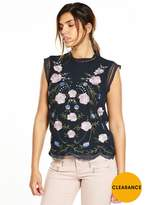 Very Embroidered Sleeveless Shell Top
