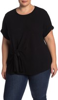 &.Layered Short Sleeve Textured Knotted Front Top (Plus Size)