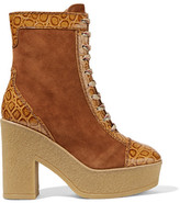 See by Chloe Suede And Croc-effect Leather Lace-up Boots - Brown