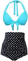 Bess Bridal Retro 2 Pieces Halter Tankini Set Polka Dot High Waist Bikini Swimsuits