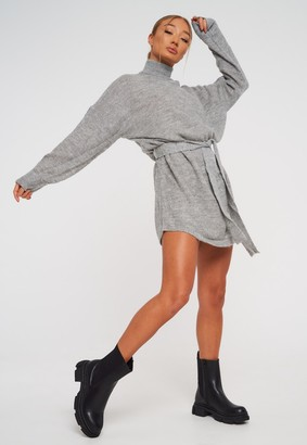 Missguided Grey High Neck Oversized Belted Knit Jumper Dress