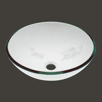 The Renovators Supply Inc. Etched Fish Frosted Glass Circular Vessel Bathroom Sink The Renovators Supply Inc.