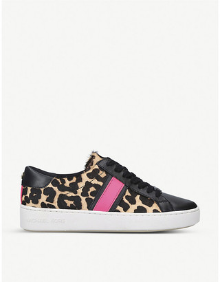 MICHAEL Michael Kors Irving leather and mohair trainers