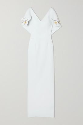 Safiyaa Aurora Crystal-embellished Crepe Gown - Ivory
