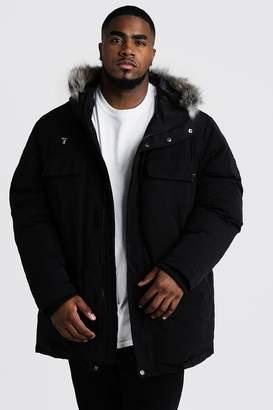 BoohoomanBoohooMAN Mens Black Big & Tall Faux Fur Hooded Arctic Parka, Black