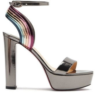 Christian Louboutin Arkendisc 130 Patent-leather Platform Sandals - Grey Multi