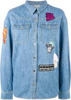 Kenzo badges boyfriend denim shirt - women - Cotton - 36
