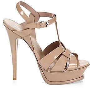 Saint Laurent Women's Tribute 105 Patent Leather Platform Sandals