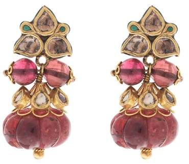 Amrapali 18K/22K Yellow Gold bonded with Sterling Silver with Diamond and Spinel Earrings
