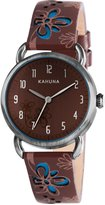 Kahuna Women's Quartz Watch with Brown Dial Analogue Display and Brown Leather Strap KLS-0249L