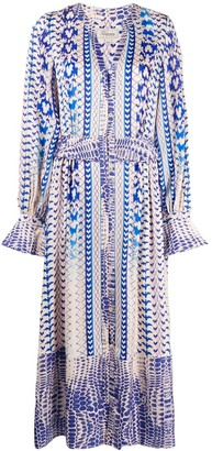 Temperley London Buttoned Abstract-Print Dress