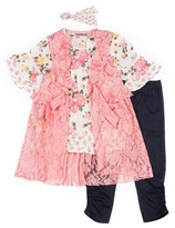 Satin Flowers Lace Coverup, Floral Ruffle Sleeve Top and Knit Denim Legging, 3-Piece Outfit Set (Big Girls)