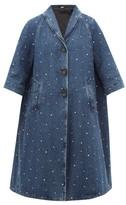 Miu Miu Crystal-embellished Denim Coat - Womens - Denim