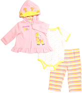 Buster Brown Candy Pink & Sunshine 'Growing Tall' Giraffe Hoodie Set - Infant