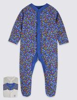 Marks and Spencer 3 Pack Pure Cotton Assorted Sleepsuits