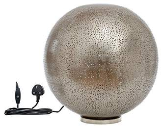 New Buyer Bazaar Moroccan/Marrakesh Ball in Mesh Etching,Handmade Globe lamp, Indoor Bedside Light, Iron, Silver, E27, 40 Watts, LED