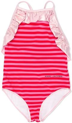 Little Marc Jacobs Crisscross Back Ruffled Trim Swimsuit