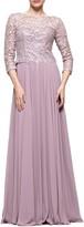 Marsoni Guipure Lace & Chiffon A-Line Gown