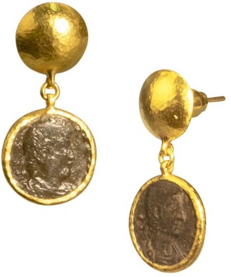 Gurhan Antiquities 18K & 24K Yellow Gold Roman Coin Drop Earrings