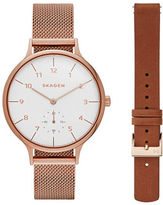 Skagen Anita Rose Goldtone Stainless Steel Mesh Bracelet Watch & Brown Leather Strap Box Set