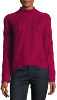 1 STATE 1.STATE Cable-Knit Turtleneck Sweater, Dark Pink