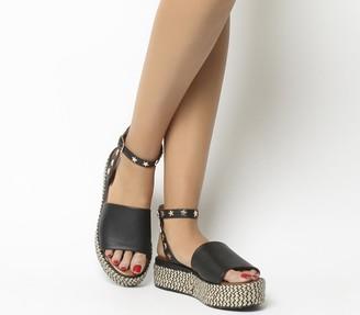 Inuovo Star Ankle Tie Flatforms Black