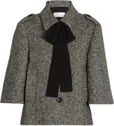 RED Valentino Neck-tie wool-blend herringbone jacket