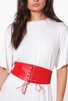 boohoo Maisie PU Lace Up Corset Belt red