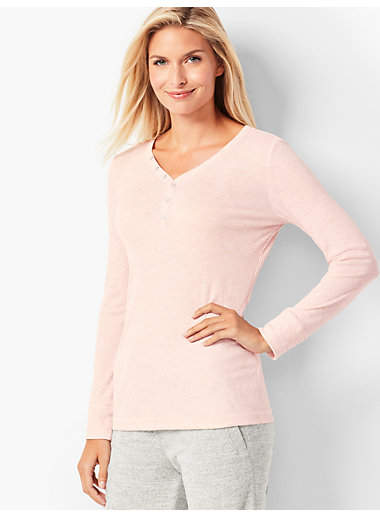 Talbots Ribbed Henley Top