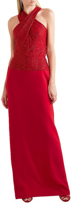 Naeem Khan Cutout Embellished Tulle And Crepe Gown