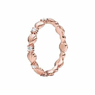 Pandora Sparkling Shell Ring Rose Size 52