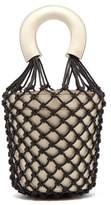 STAUD Moreau Macrame And Leather Bucket Bag - Womens - Black Cream