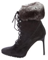 Manolo Blahnik Chinchilla Pointed-Toe Ankle Boots
