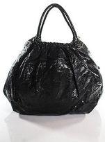Beirn Black Watersnake Gold Tone Studded Ruched Ruthie Shoulder Handbag New