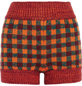 Miu Miu Checked Wool-blend Shorts - Orange