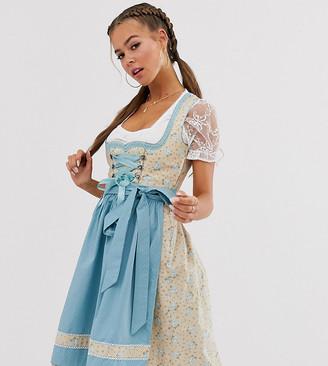 Marjo Stockerpoint original Bavarian Oktoberfest Dirndl with rose print and apron