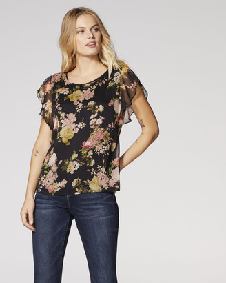 Vince Camuto Bloom-Print Flutter-Sleeve Blouse