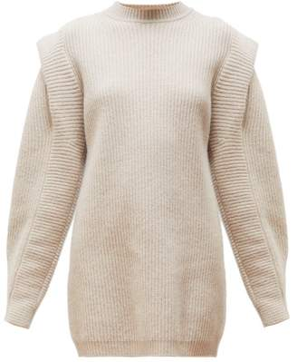 Isabel Marant Beatsy Balloon-sleeve Cashmere-blend Sweater Dress - Womens - Beige