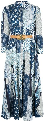 Oscar de la Renta patchwork print shirt dress
